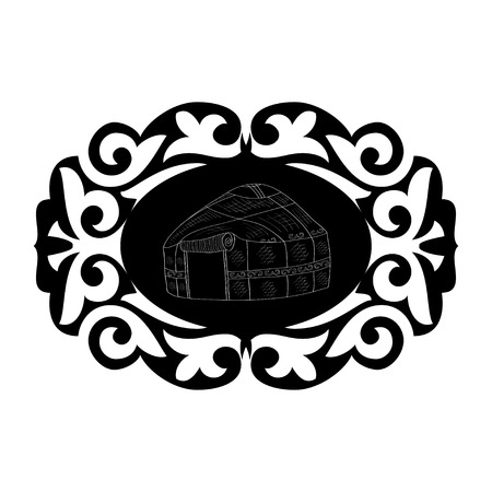 Yurt. National housing. Pattern, ornament. Monochrome. Logo, emblem