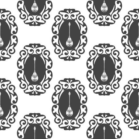 Dombra. Musical instrument. Background, wallpaper, seamless. Patterns. Monochrome. Sketch. On a white background