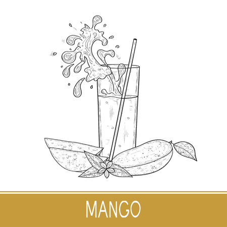 Mango. Tropical Fruit. A glass of juice, smoothies. Straws, splash, splashes. Sketch. Can be used on the label. Monochrome