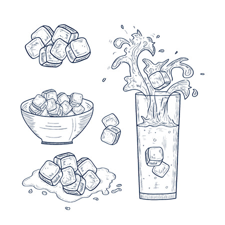 A glass with water. Ice, a cup. Splashes, drops. Set. Sketch. Monochrome Illustration