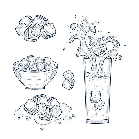 Un vaso con agua. Hielo, una taza. Salpicaduras, gotas. Colocar. Bosquejo. Monocromo