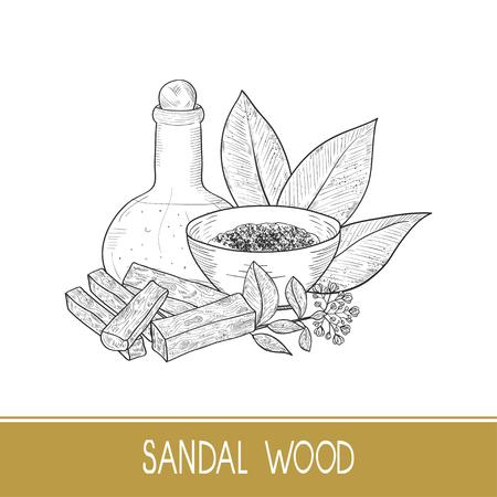 Drewno sandałowe. Liść, kwiat. Proszek, pałeczka, miska, olej. Monochromia. Naszkicować. Na białym tle.