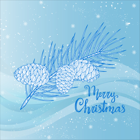 Cone, cedar. Vetka, snowflakes. Sketch. On a blue background. Christmas. Postcard template. Stock Illustratie