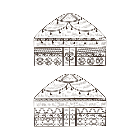 Yurt. Housing. Monophonic. Sketch. Set.