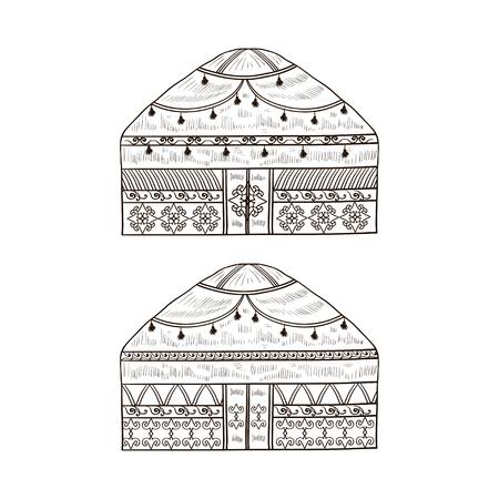 Yurt. Housing. Monophonic. Sketch. Set. Vetores