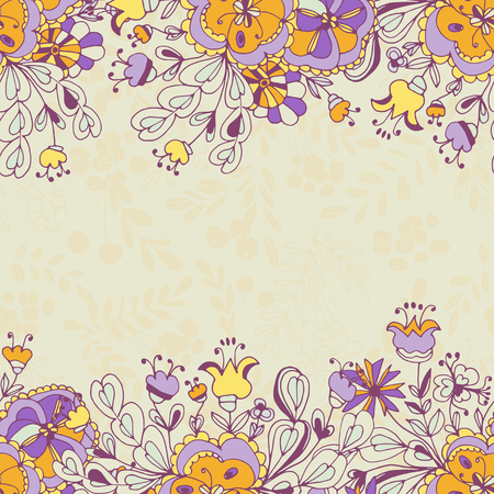 Background, texture, greeting card with flowers. Yellow background. Doodle