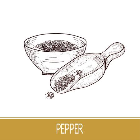 Pepper. Powder, scoop, bowl. Sketch.