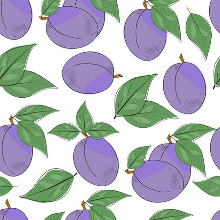 Plums, prunes. Background, wallpaper, texture, seamless. Sketch. Stock Illustratie