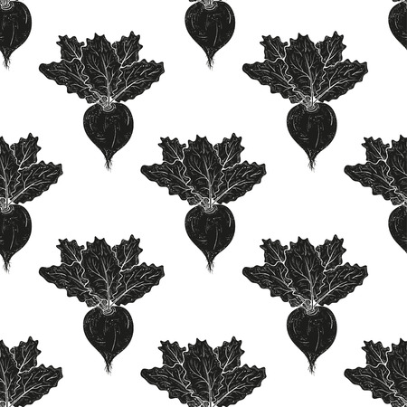 Turnip. Vegetable. Root leaves. Background, wallpaper, seamless, texture. Black silhouette on white background.