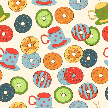 Donut. A cup. Background, wallpaper, texture. Seamless. Sketch, Doodle. Stock Illustratie