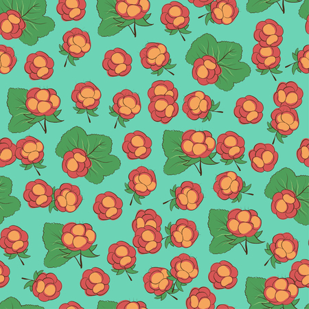 Cloudberry. Background wallpaper. Drawing on a blue background. Seamless. Sketch Illustration