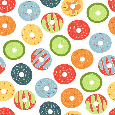 Doughnut. Background, wallpaper, seamless. Sketch. Vector Illustratie