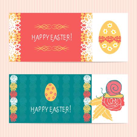 Easter. Banner, background, card. Set. Doodle