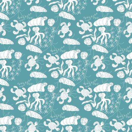 Marine background. Turtle, octopus, shells, seaweed. Seamless. Doodle Ilustración de vector