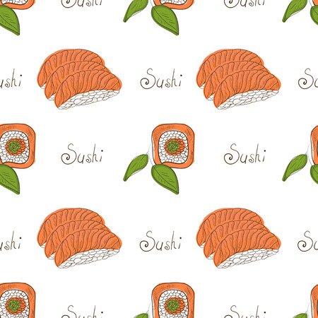 Sushi Background Wallpaper Texture On A White Background Sketch