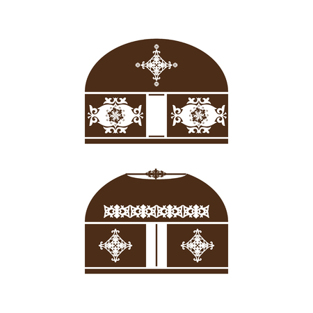 Yurt. Set. Dwelling nomads. Brown silhouette on a white background.