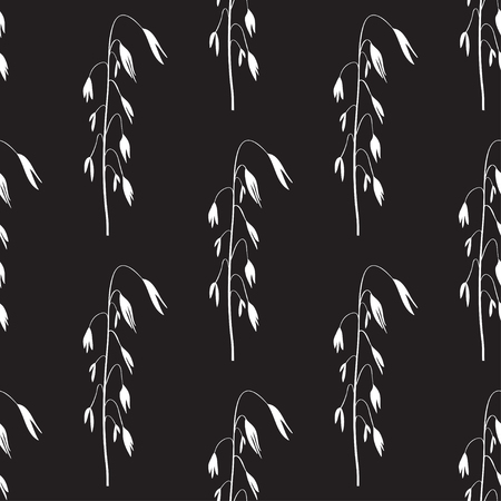 Oats. White pattern on a black background. Wallpaper, seamless.