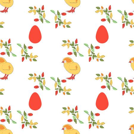 Easter. Chicken, egg, branch. Background, wallpaper, texture. Seamless. Sketch.