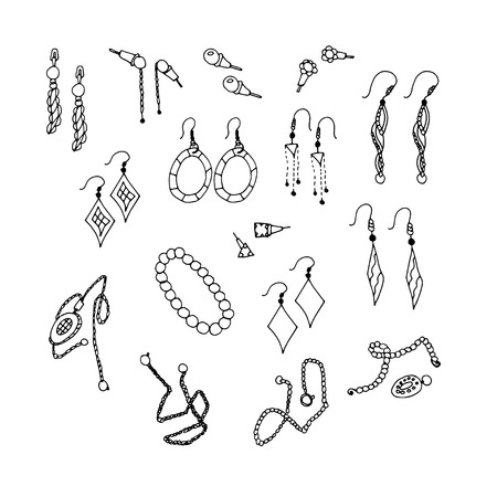 Bijouterie. Chain earrings. Set. Sketch, Doodle. On a white background.
