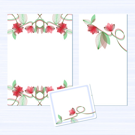 Template. Flowers on a white background. Invitation to the wedding. Congratulations Happy Birthday, Valentines Day. Card for anniversary. Set. Ilustração