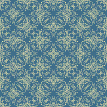 Blue background with golden patterns. Seamless. Vintage. Ilustrace