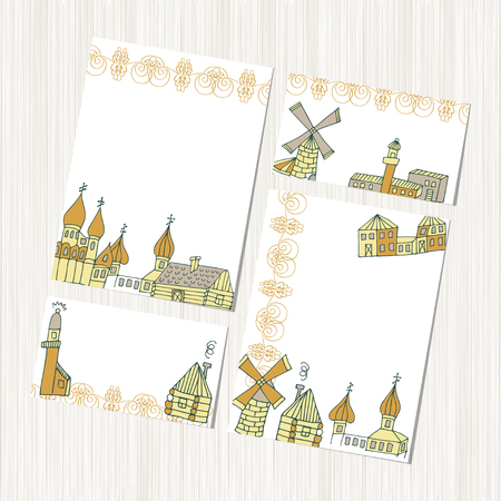 Mill, cottage, lighthouse. Template. set. Background, texture, banner, postcard. Sketch.