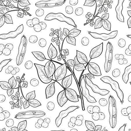 Soja. Plante. Tige, fleur, feuille, fruit, gousse. Monophonique. Fond, papier peint, sans couture, texture. Esquisser. Vecteurs