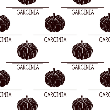 Garcinia. Fetus. Background, wallpaper, seamless, texture. Black silhouette.