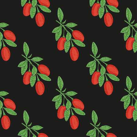 Goji. Branch, berry, leaf. Sketch. Wallpaper, seamless, texture. Colored drawing on a black background. Illustration