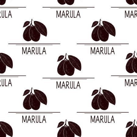 Marula. Obst. Silhouette. Hintergrund, Tapete, nahtlos, Textur. Vektorgrafik
