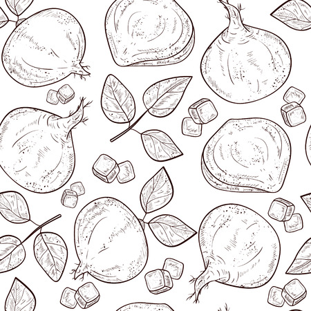 Jicama. Vegetable. Root, sheet. Sketch. Seamless, background, texture, wallpaper. Monophonic Illustration
