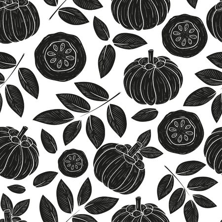 Garcinia. Leaves, fruit. Sketch. Wallpaper, seamless, texture. Black silhouette on white background.