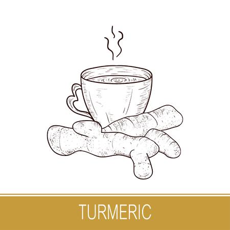 Turmeric. Root, cup of tea. Sketch. Illusztráció