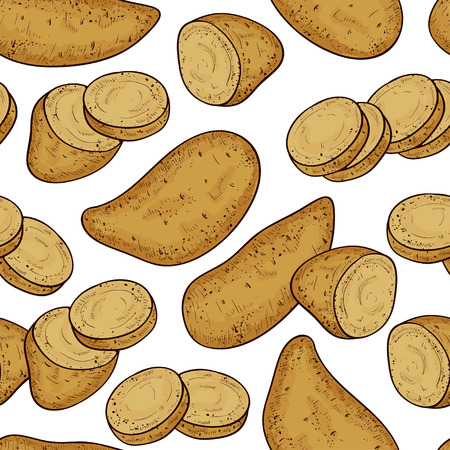 Yams. Tuber, slice. Background, wallpaper, texture, seamless. Sketch. Color.