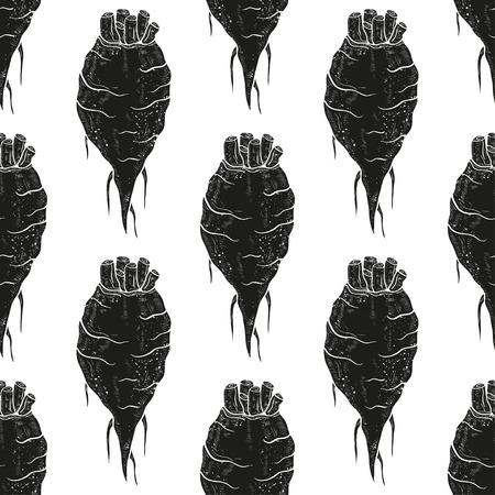 甜菜。根。背景、壁紙、テクスチャ、シームレス。白い背景に黒のシルエット。 ベクターイラストレーション