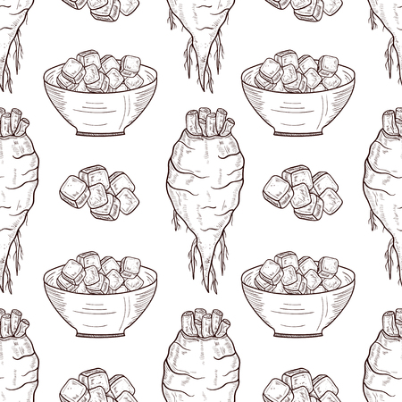 Sugar beet. Root, sugar, bowl. Sketch. background, wallpaper, texture, seamless.