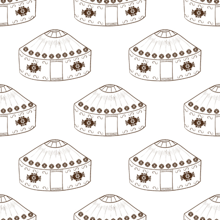 Yurt. Background, wallpaper, seamless. Sketch doodle. monochromatic