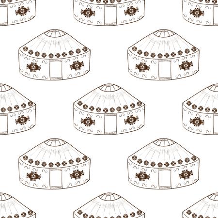 Yurt. Background, wallpaper, seamless. Sketch doodle. monochromatic