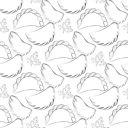 Vareniki. Black and white image. Background, texture, seamless. Sketch.