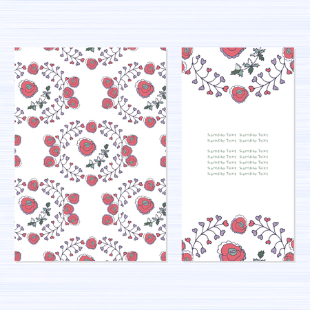 A set of cards with flowers. Template. Pink and green. Tender. beautiful. Template. It can be used as a greeting, an invitation to a wedding anniversary. Birthday, Valentine's Day. Thanks.