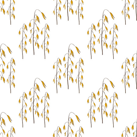 Oats. Background, wallpaper, seamless. Sketch, doodle 일러스트