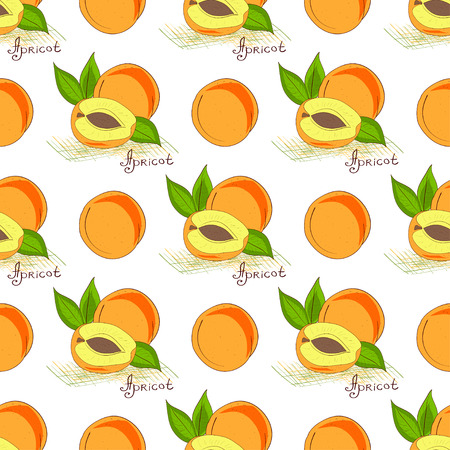 Apricot. Background wallpaper. Seamless. On a white background. Sketch, doodle
