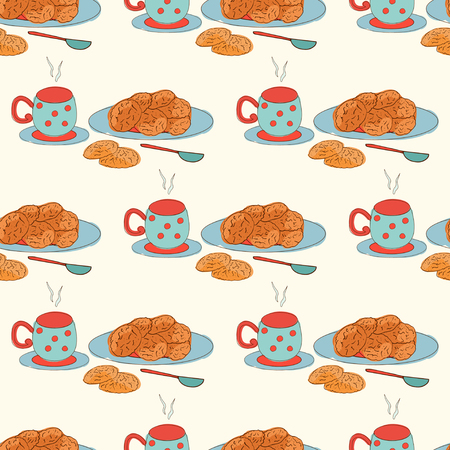 Cookies, oatmeal. Tea, coffee and biscuits. Background, texture, wallpaper. Seamless.