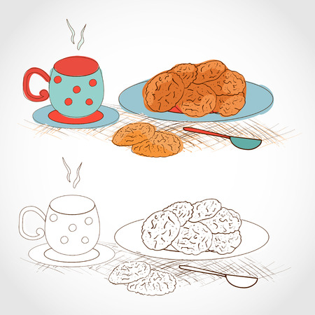 A cup of tea and saucer with oatmeal cookies. Color and pattern of black and white. Sketch Ilustração Vetorial