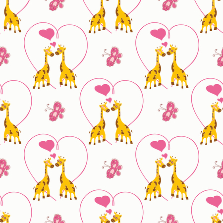Giraffe on a white background. Background, texture, wallpaper. Seamless.