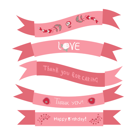 Ribbon. For cards, invitations for wedding, birthday. Design element. Pink color. Set Illustration