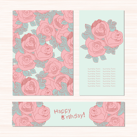 Template. Pink roses. Blue background. texture, birthday card. Sketch. Set. Illustration