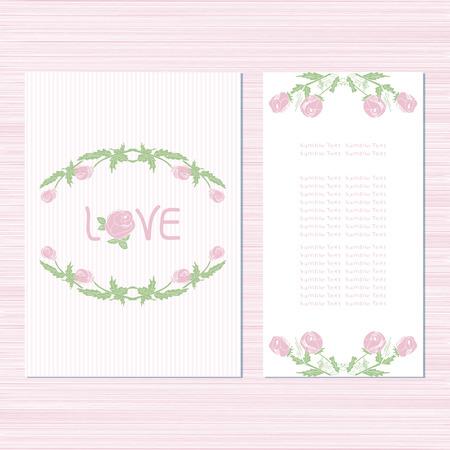 Le modèle pour le mariage. Invitation, carte d'anniversaire, Saint-Valentin, anniversaire. Avec des roses sur fond blanc. Régler. Esquisser.