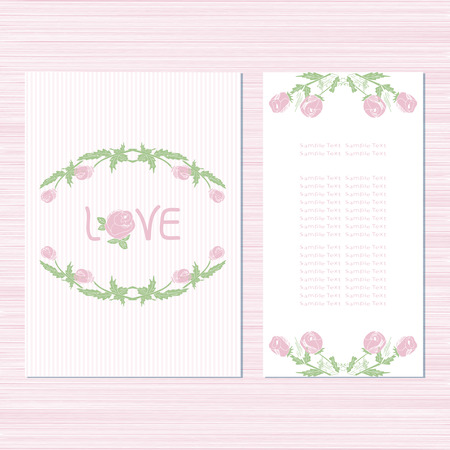 The template for the wedding. Invitation, Anniversary Card, Valentine's Day, birthday. With roses on a white background. Set. Sketch.