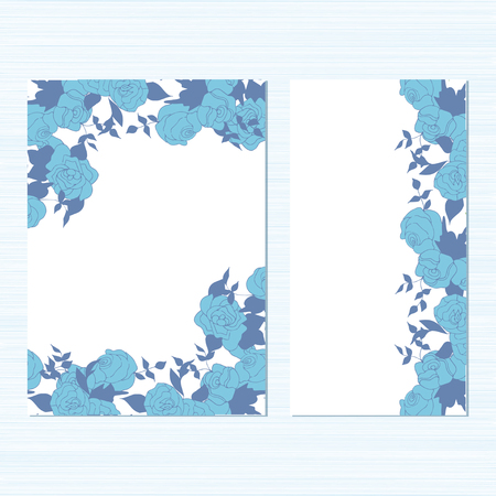 Rosas azules sobre un fondo blanco. Modelo. Colocar. Bosquejo. Priglastielnaya para una boda, tarjeta de cumpleaños, aniversario, San Valentín. Ilustración de vector